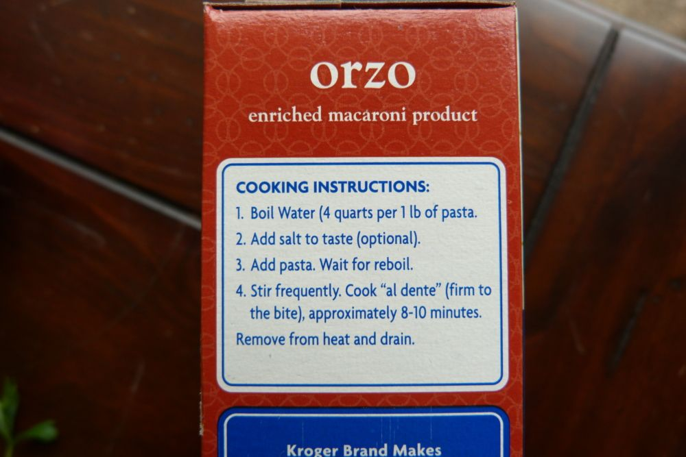 Orzo Directions